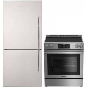 """Blomberg 2 Piece Kitchen Appliances Package With BERU30420SS 30"""" Electric Freestanding Range and BRFB1822SSLN 30"""" Bottom freezer Refrigerator In Stainless"""