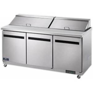 """Arctic AST72R 72"""" Sandwich/Salad Prep Table with Heavy-Duty Cutting Board  Plastic Pans  Electronic Thermostat and Locking Casters in Stainless"""