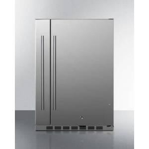 """Summit SPR196OS24 24"""" Shallow Depth Outdoor Compact Refrigerator with 3.13 cu. ft. Capacity  Slide-Out Storage Compartment  Factory Installed Lock and"""