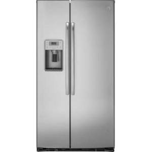 """GE Profile PZS22MYKFS 36"""" Freestanding Counter Depth Side by Side Refrigerator with 22.1 cu. ft. Capacity  4 Glass Shelves  External Water Dispenser  with Door"""