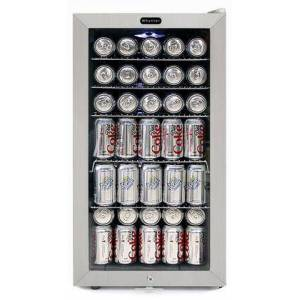 """Whynter BR-128WS 17"""" Freestanding Beverage Center with 120 Can Capacity  LED Lighting  5 Wire Shelves  and Lock  in Stainless"""