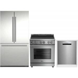"""Blomberg 3-Piece Kitchen Appliances Package with BRFD2230SS 36"""" French Door Refrigerator  BIR34552SS 30"""" Freestanding Electric Range and DWT81800SSIH 24"""""""