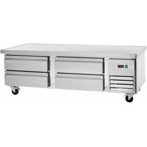 """Arctic ARCB72 74"""" Refrigerated Chef Base with Insulated Top  CFC Free Refrigerant  Casters and Electronic Thermostat in Stainless"""