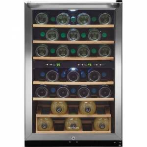 """Frigidaire FFWC3822QS 22"""" Two-Zone Wine Cooler with 38 Bottle Capacity  Wooden Shelves  Electronic Temperature Control  Bright Lighting  Stainless Steel"""