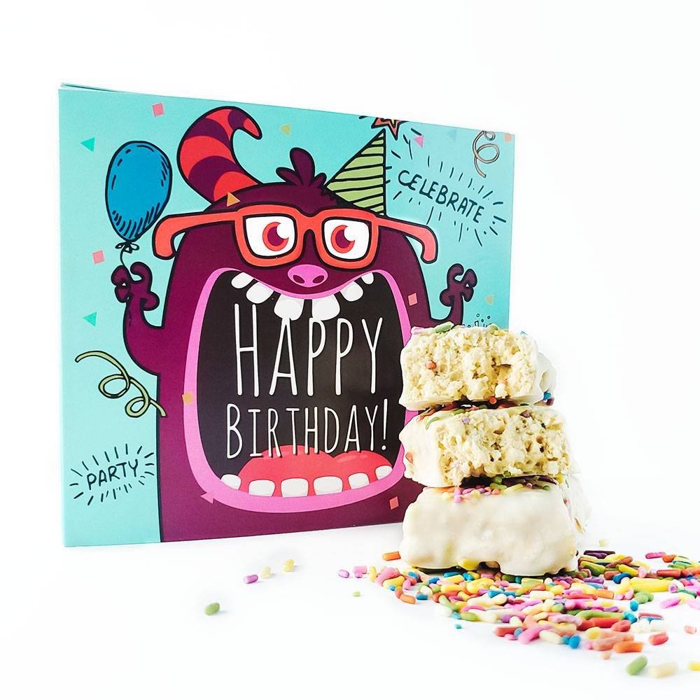 Birthday Party in a Box Box Card with Birthday Cake Protein Bar, Candle 10 Pack