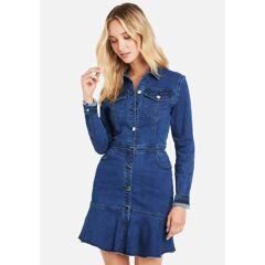 Bebe Women's Flared Hem Jean Dress, Size 2 in Medium Indigo Wash Cotton/Spandex