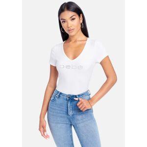 Bebe Women's Swarovski Logo V-Neck Short Sleeves Tee Shirt, Size Small in Bright White Silk/Spandex