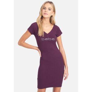 Bebe Women's Swarovski Logo Short Sleeve Double V-Neck Dress, Size XS in Plum Spandex