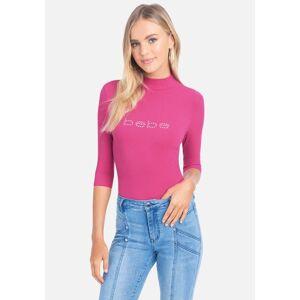 Bebe Women's Swarovski Logo Mock Neck 3/4 Sleeve Tee Shirt, Size Small in Magenta Spandex