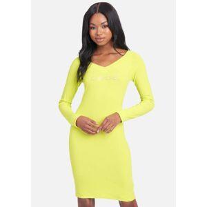 Bebe Women's Swarovski Logo Long Sleeve Dress, Size Small in Sulphur Spring Spandex