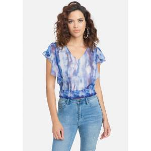 Bebe Women's Printed Chiffon Flutter Sleeve Woven Top, Size 6 in Marble Print Polyester