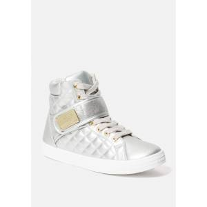 Bebe Women's Dianica Quilted High Top Sneakers, Size 10 in SILVER Synthetic