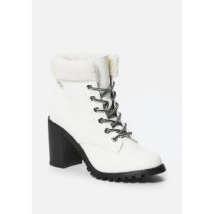 Bebe Women's Kimmberly Lace Up Bootie, Size 8 in WHITE FAUX Synthetic