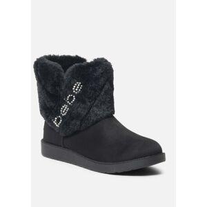 Bebe Women's Larabelle Faux Suede Winter Boot, Size 11 in BLACK SUDETTE