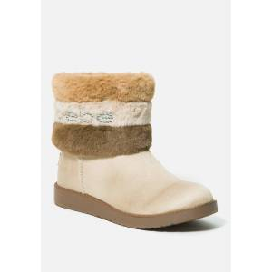 Bebe Women's Laverne Faux Suede Winter Boot, Size 7 in SAND