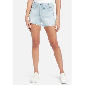 Bebe Women's Natural Waist Jean Shorts, Size 28 in Light Blue Wash Cotton/Spandex