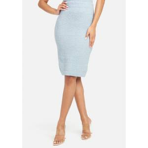 Bebe Women's Chenille Knit Skirt, Size XL in Ice Blue Polyester
