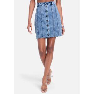 Bebe Women's Multi Stitch Fitted Jean Skirt, Size 6 in Medium Blue Acid Wash Cotton/Spandex/Viscose