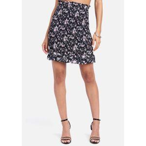 Bebe Women's Crepe Ruffle Midi Skirt, Size 0 in Ditsy Print Polyester