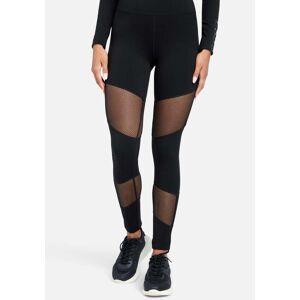 bebe Women's Mesh Combo Bebe Logo Legging, Size Large in Black Spandex/Nylon