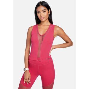 bebe Women's Mesh Combo Bebe Logo Sleeveless Top, Size Medium in Love Potion Spandex/Nylon