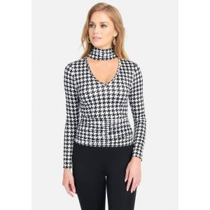 Bebe Women's Mock Neck Ruched Waist Knit Top, Size XS in Houndstooth Spandex