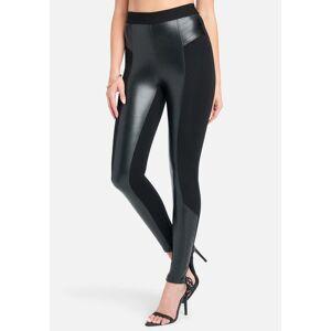 Bebe Women's Vegan Leather Zipper Detail Legging, Size Medium in Black Polyurethane/Spandex/Nylon