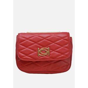 Bebe Women's Abigail Smooth Flap Shoulder Bag in Red Polyurethane