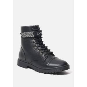 Bebe Women's Dayani Combat Boots, Size 7 in BLACK FAUX Synthetic