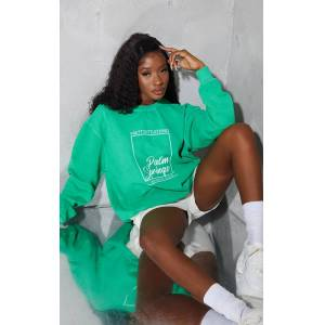 PrettyLittleThingBright Green Palm Springs Print Sweatshirt - Bright Green - Size: L