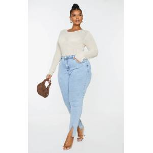 PrettyLittleThing Plus Cream Sheer Knitted Bust Detail Long Sleeve Top - Cream - Size: 14