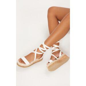 PrettyLittleThing Jacey White Espadrille Flatform Sandals - White - Size: 9