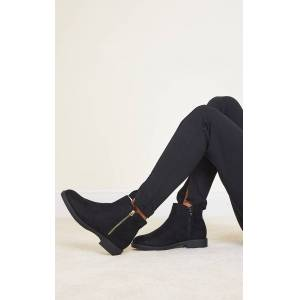 PrettyLittleThing Black Faux Suede Basic Ankle Boots - Black - Size: 5