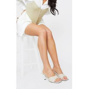 PrettyLittleThing Cream Wide Fit Croc Low Heeled Mules - Cream - Size: 8