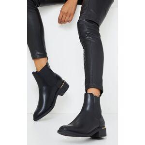 PrettyLittleThing Black Basic Gold Trim Chelsea Ankle Boot - Black - Size: 9