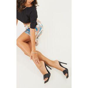 PrettyLittleThing Black Square Toe Padded Strap Heeled Mules - Black - Size: 6