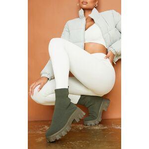 PrettyLittleThing Khaki Knitted Sock Ankle Boots - Khaki - Size: 5