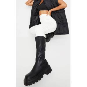 PrettyLittleThing Black PU Square Toe Knee Boots - Black - Size: 8