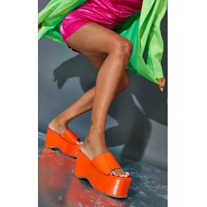 PrettyLittleThing Orange Square Toe Patent Flatform Mules - Orange - Size: 8