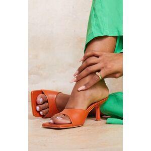 PrettyLittleThing Orange Square Toe Low Heeled Mules - Orange - Size: 6