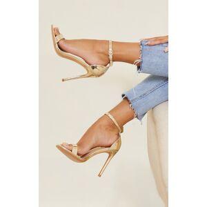 PrettyLittleThing Rose Gold Wide Fit Clover Single Strap Heeled Sandal - Rose Gold - Size: 10