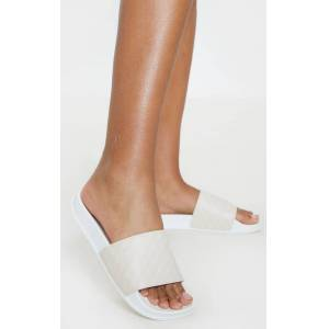 PrettyLittleThing PRETTYLITTLETHNG Nude Slides - Nude - Size: 6