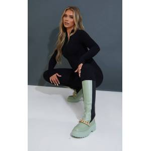 PrettyLittleThing Sage Green Chain Detail Elasticated Knee Boots - Sage Green - Size: 8
