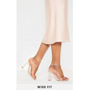 PrettyLittleThing Nude Wide Fit Clear Block Heel Sandal - Nude - Size: 7