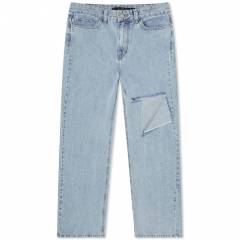 rokh Baggy Jeans With Side Slit  Blue Jean