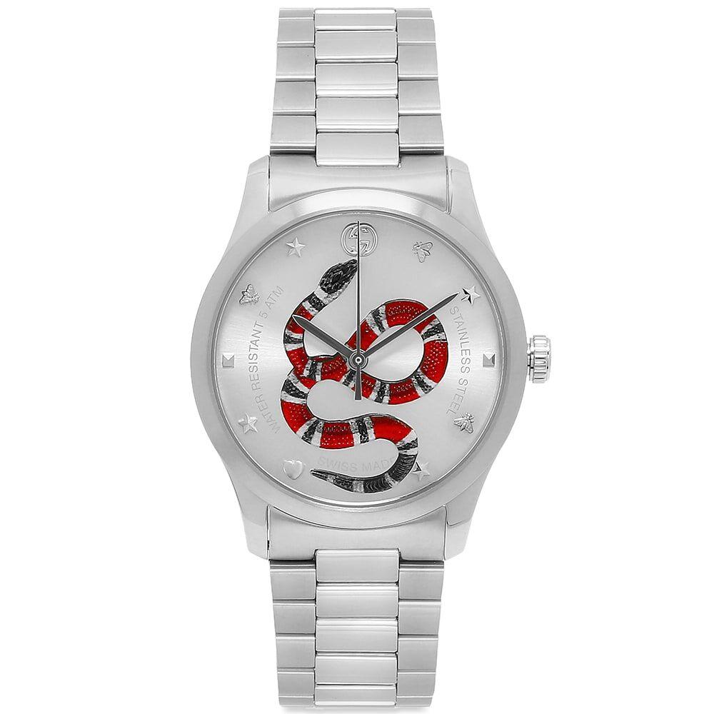 Gucci Jewellery Gucci G-Timeless Iconic Snake Watch  38mm & Steel Bracelet