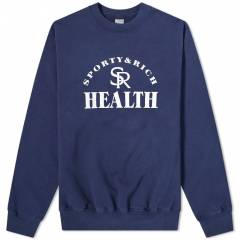 Sporty & Rich Ball Game Crew Sweat  Navy & White