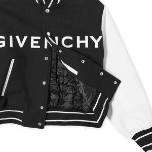 Givenchy Logo Leather Varsity Jacket  Black & White