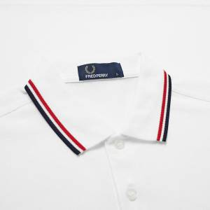 Fred Perry Slim Fit Twin Tippe  White, Red & Navy