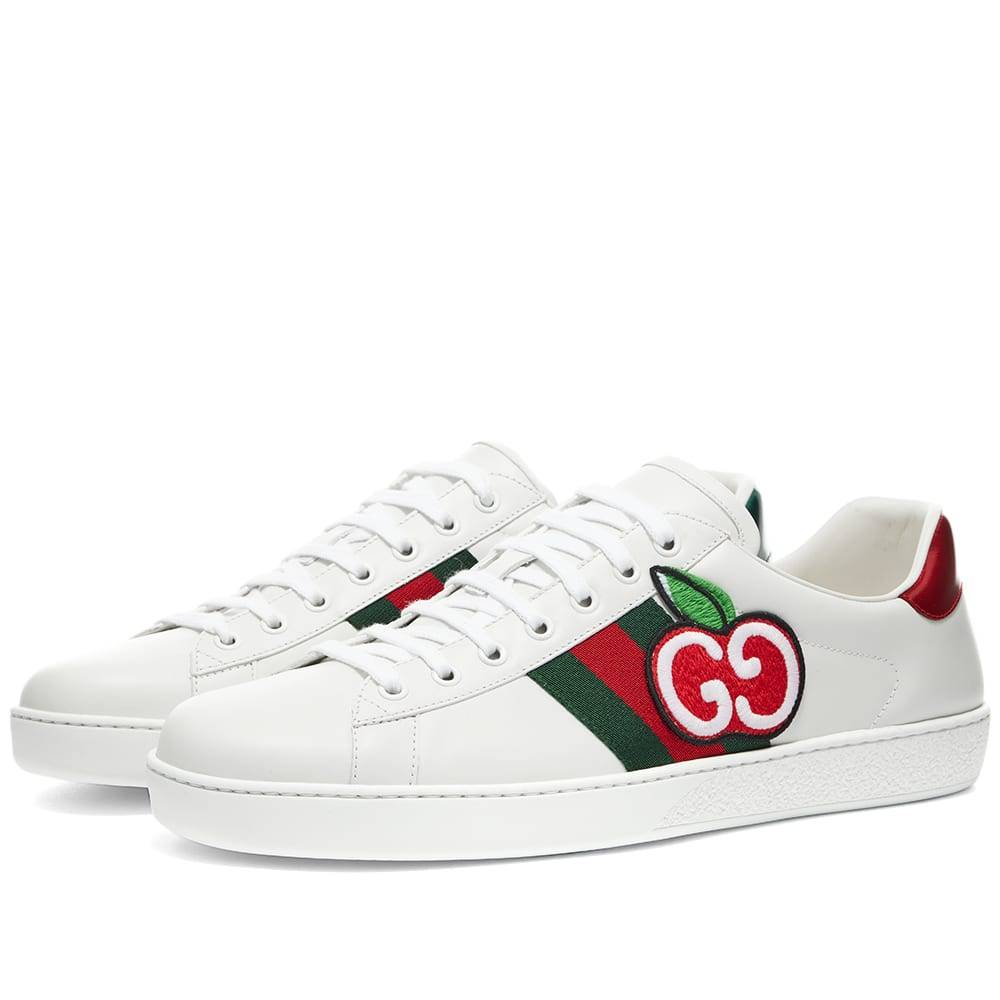 Gucci Apple Logo New Ace Sneaker  White, Red & Green